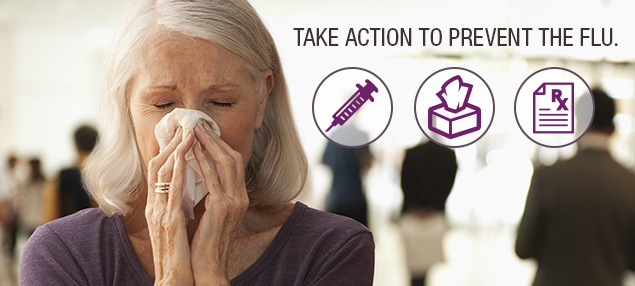 Take Action to Prevent the Flu photo of a woman blowing her nose with a flu shot, box of tissue, and prescription in three circles.